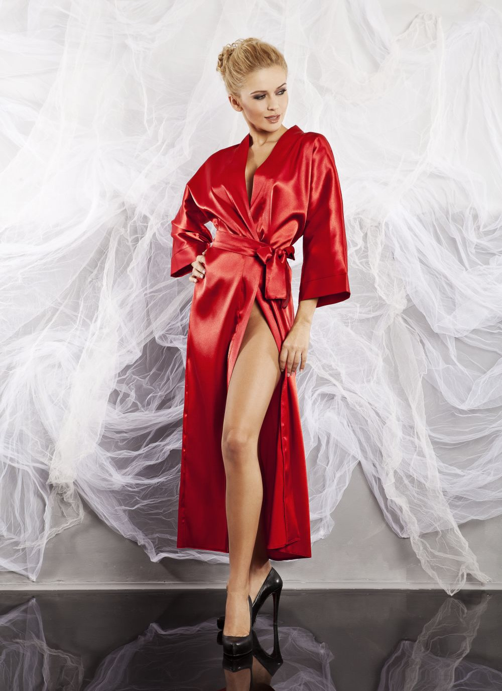 Red Long Satin Robe