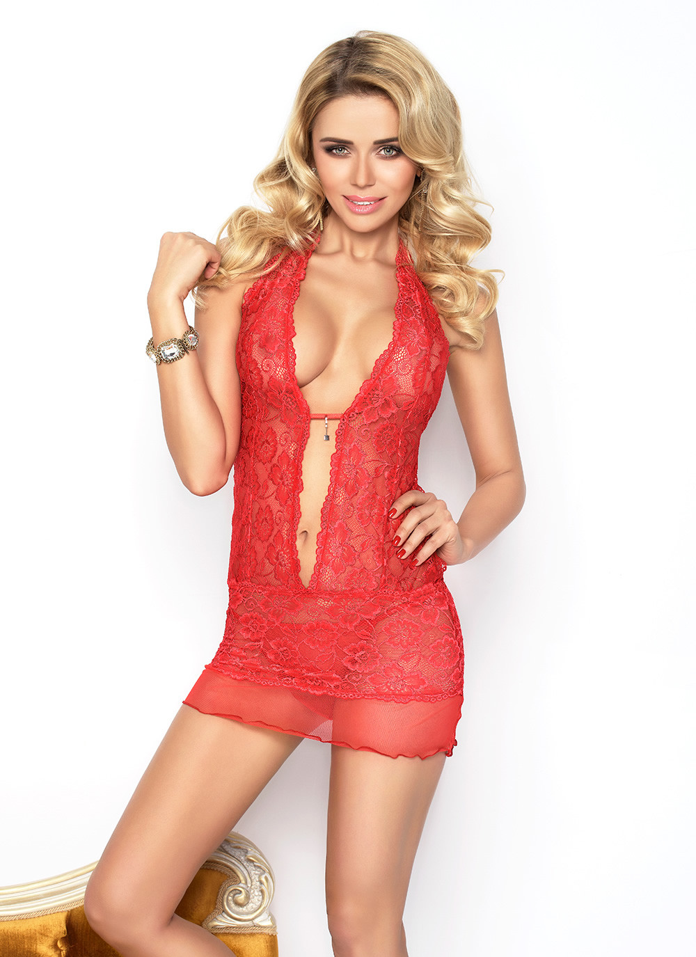Emily Lace Chemise Set - Red
