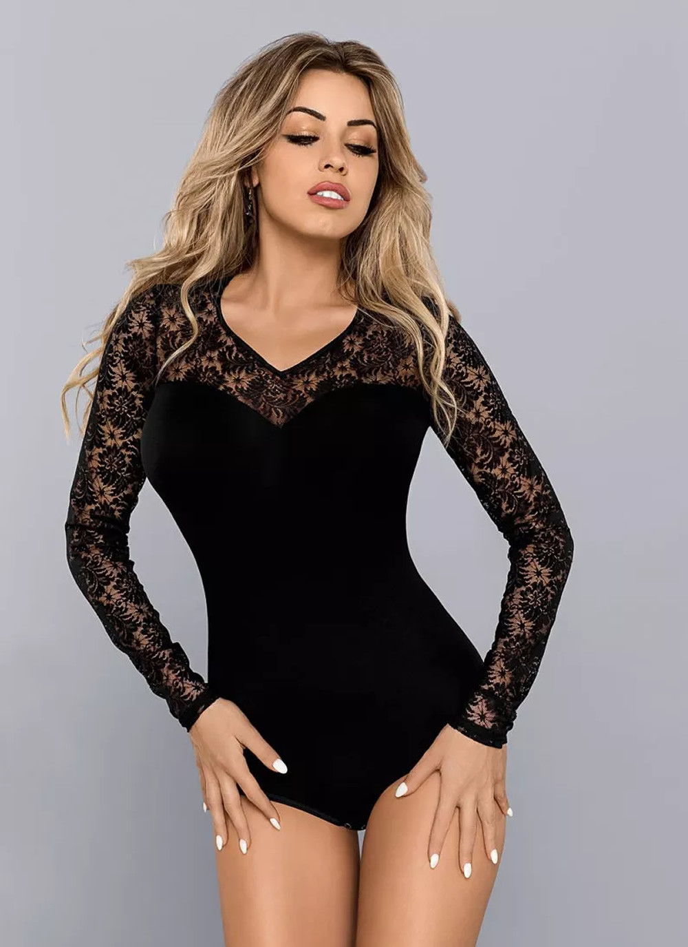 Gaia - Lace Long Sleeve Bodysuit
