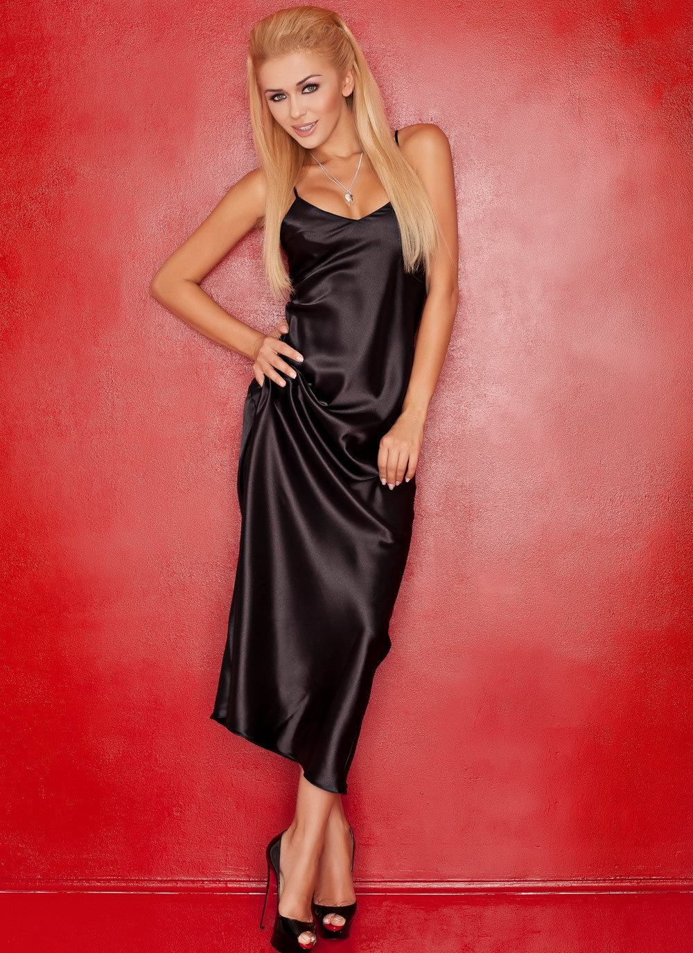 Iga Black Satin Gown
