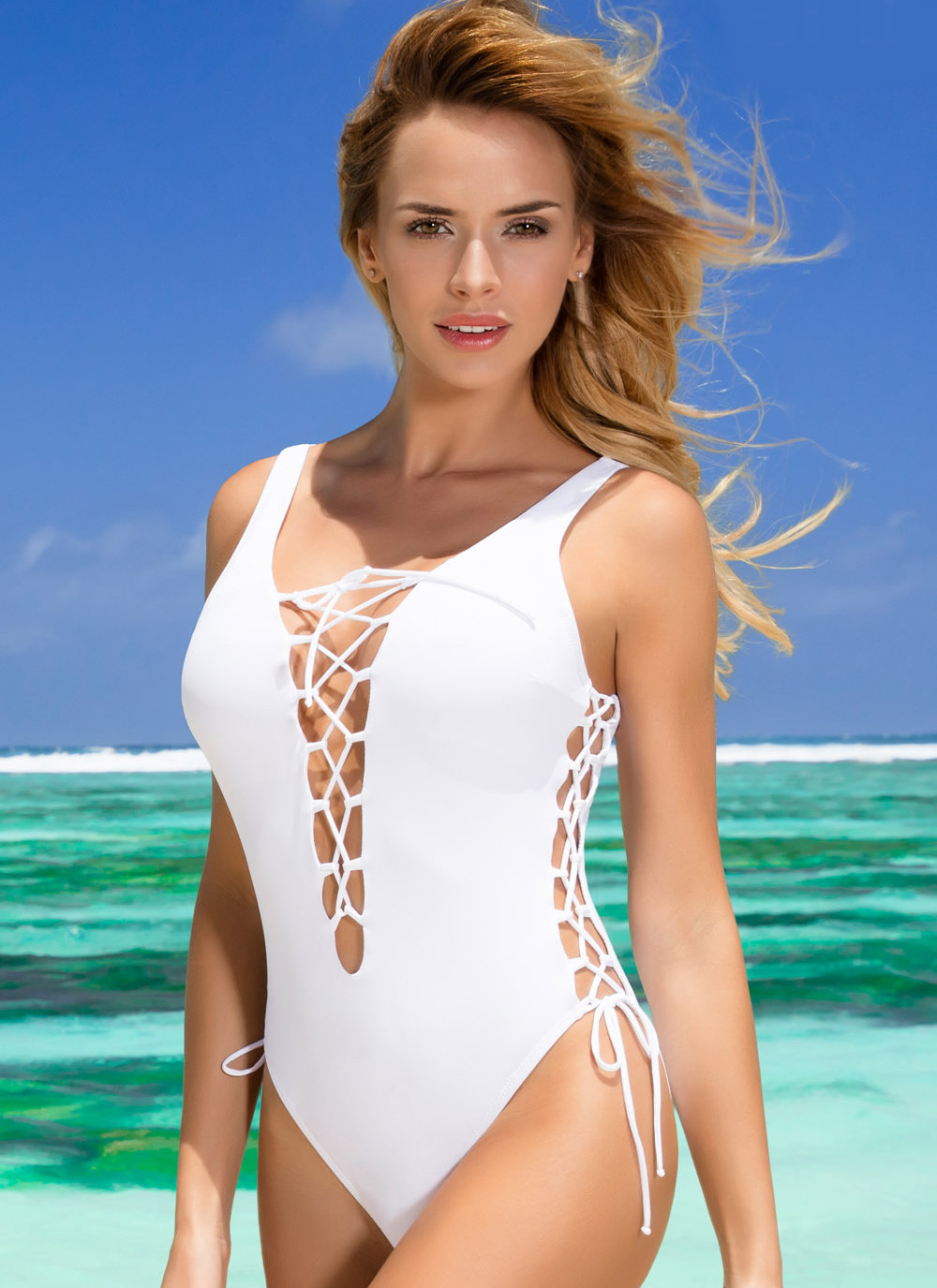 SHE - Britney Lace-Up One Piece Swimsuit