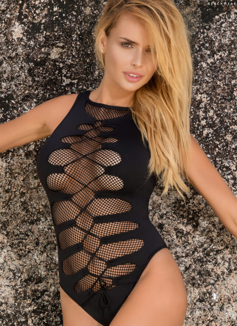 She - Eden One Piece Lace Up Swimsuit