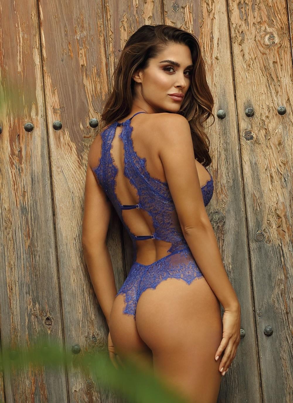 blue lace bodysuit