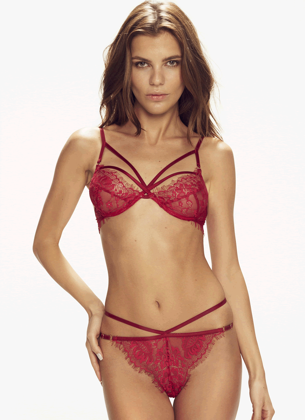 Forever Young Red Strappy Lace Thong & Soft Cup Bra