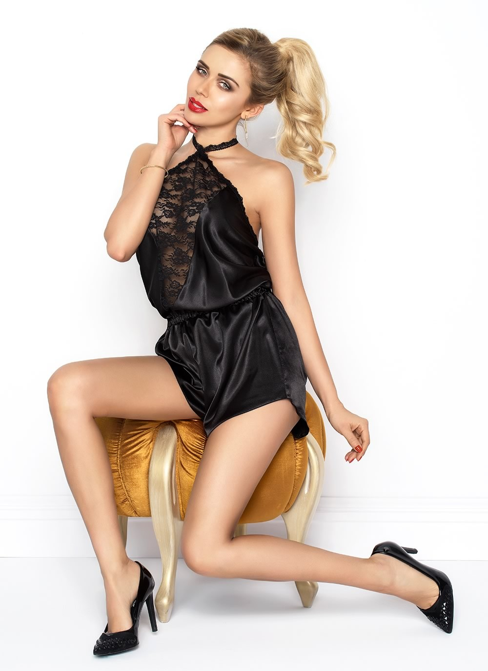 Aileen Satin Romper - Black