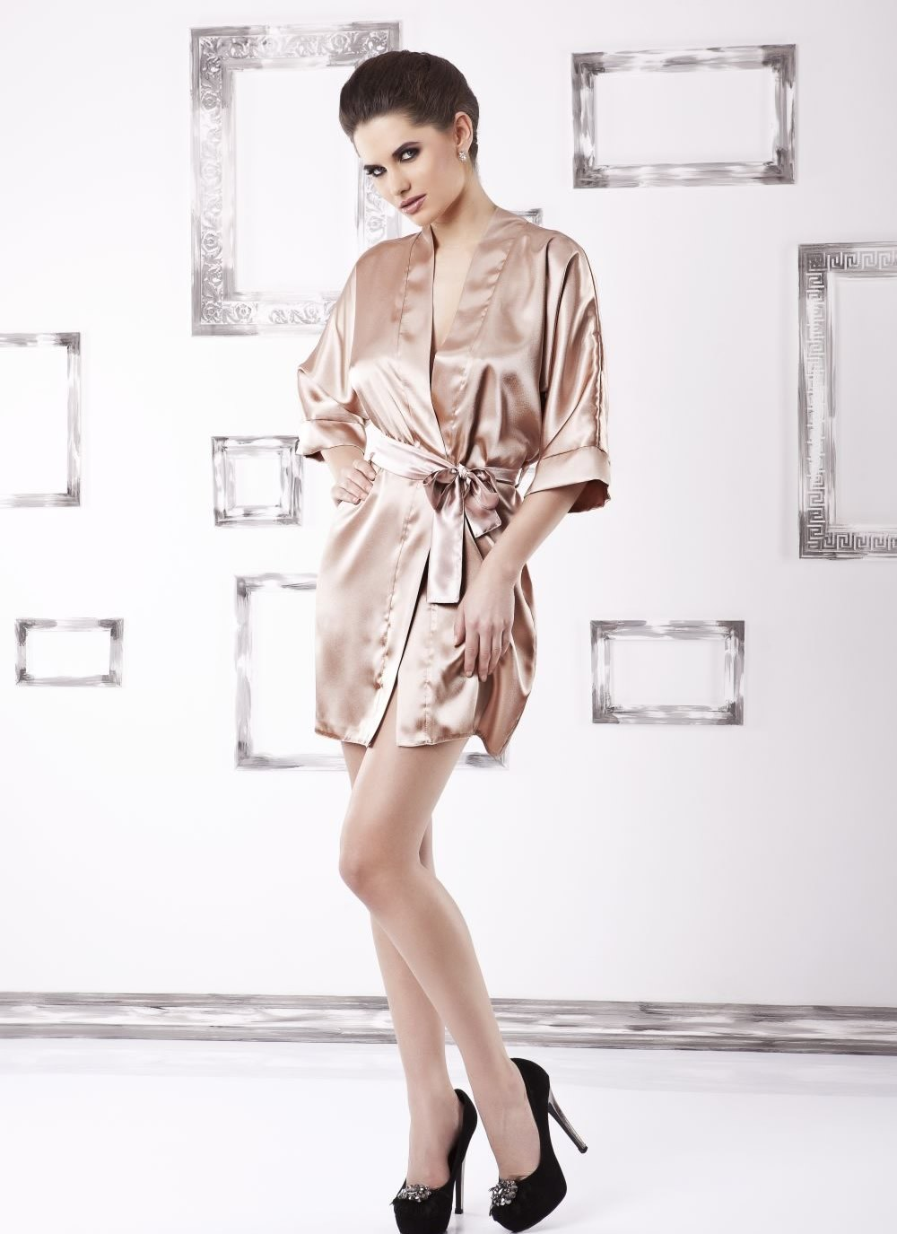 Karen Satin Robe - light brown