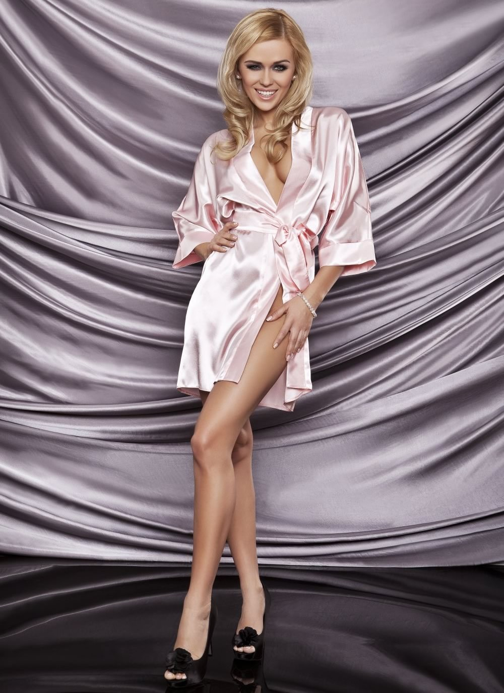Karen Satin Robe - Light Pink