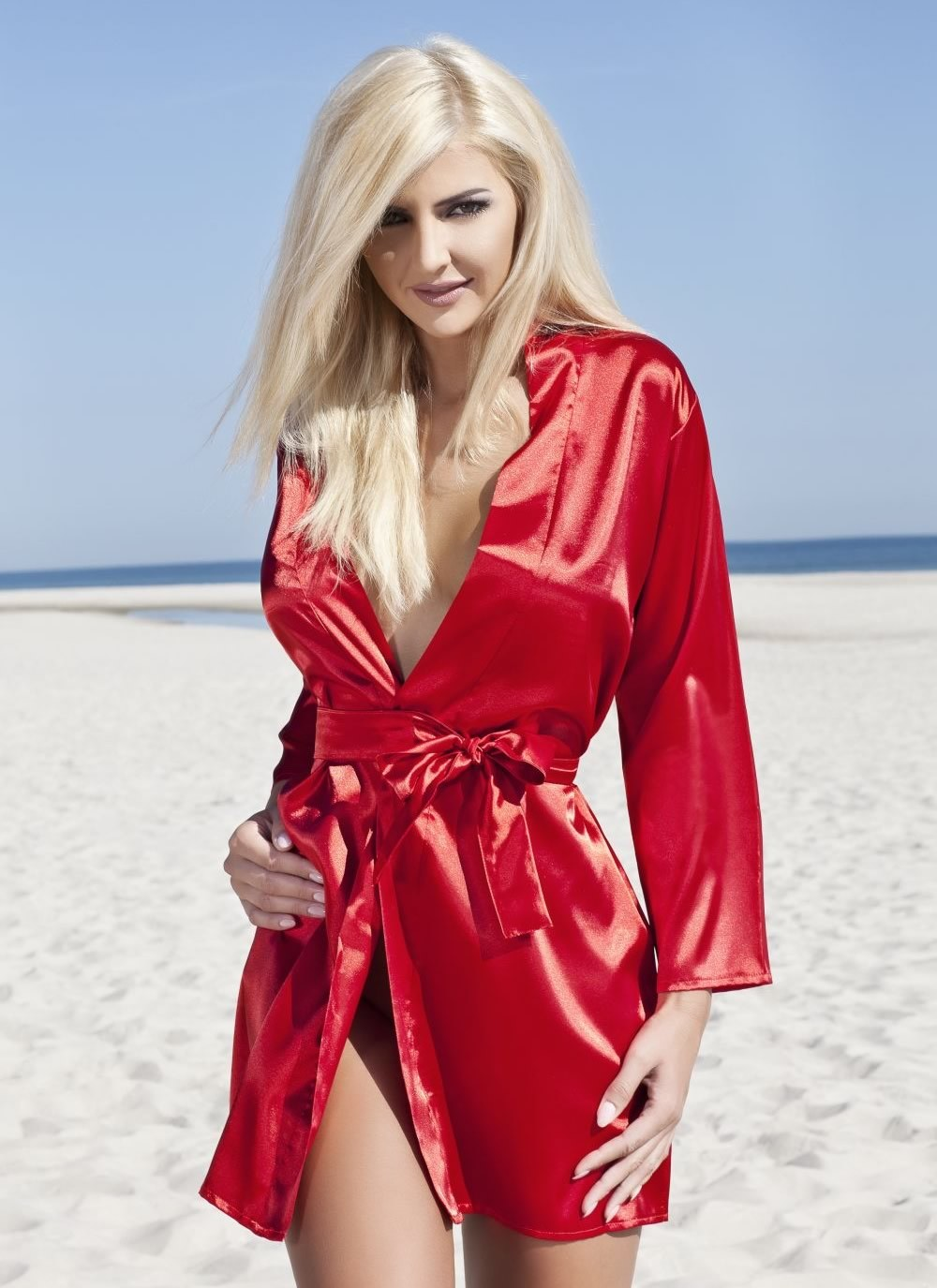 Karen Satin Robe - red