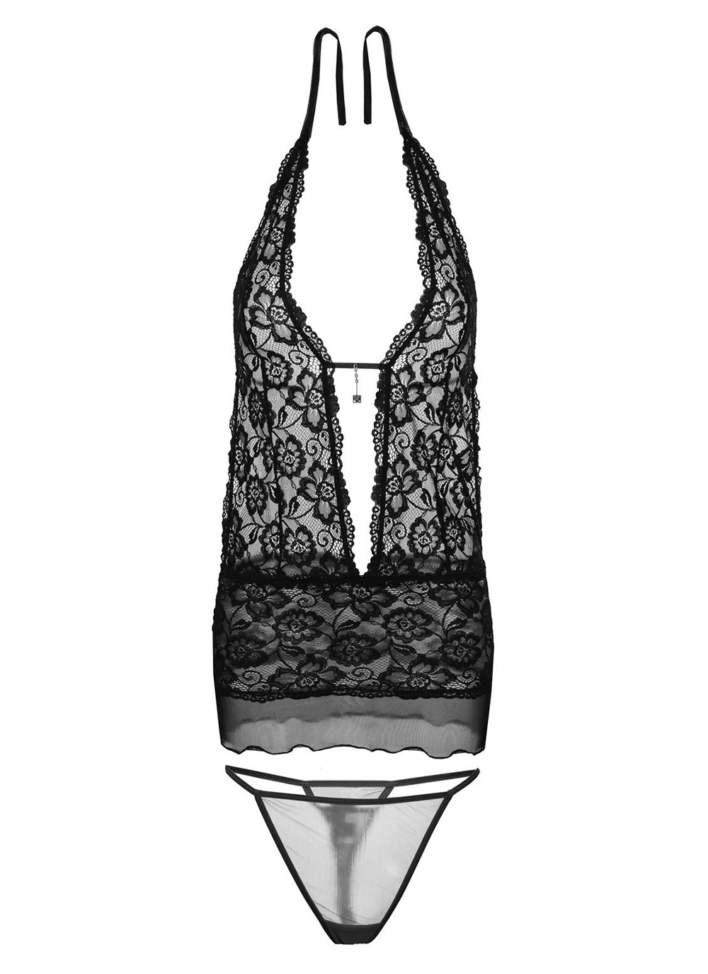 Emily Lace Chemise Set - Black