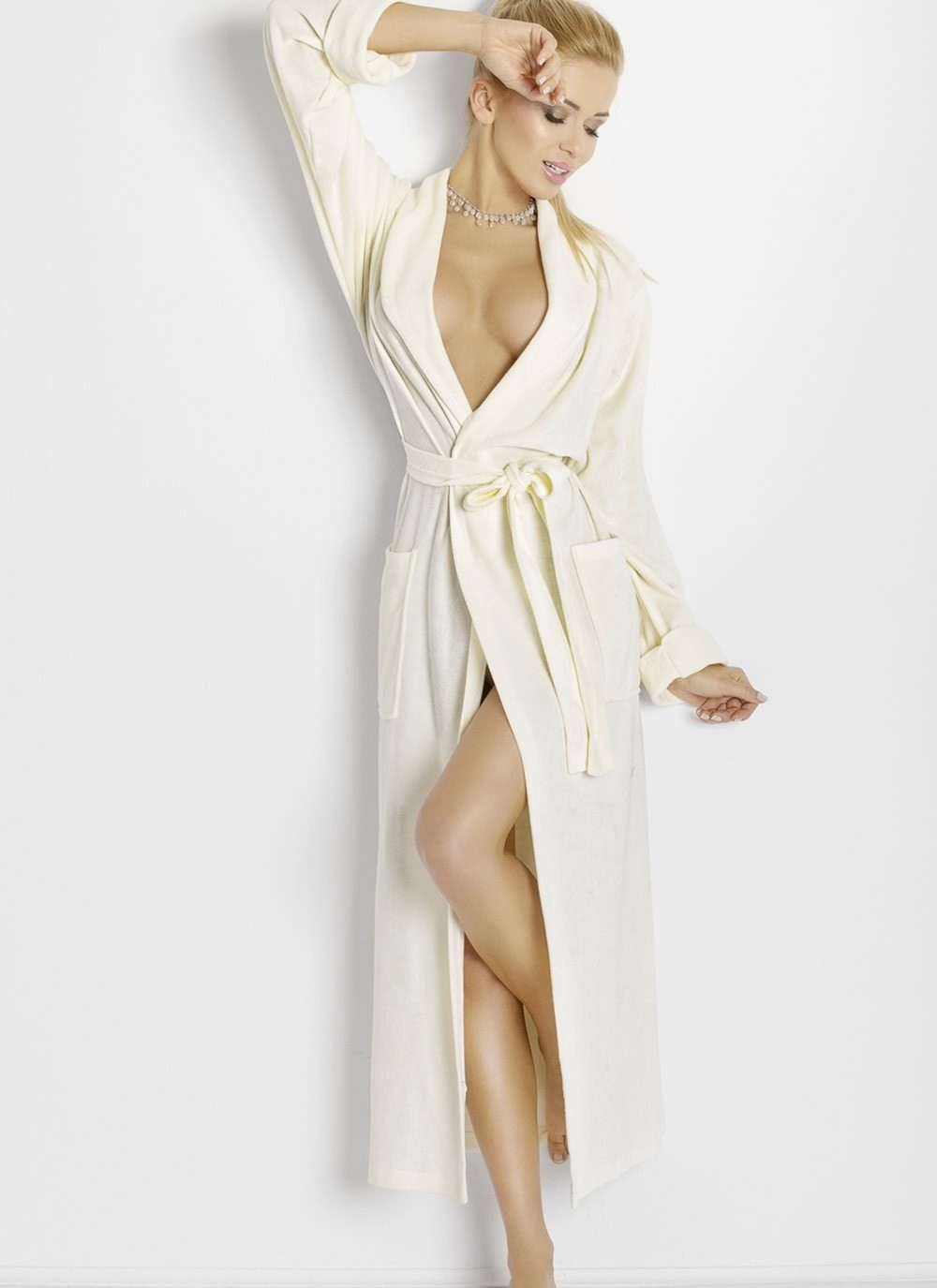 Laura Long Dressing Robe - White