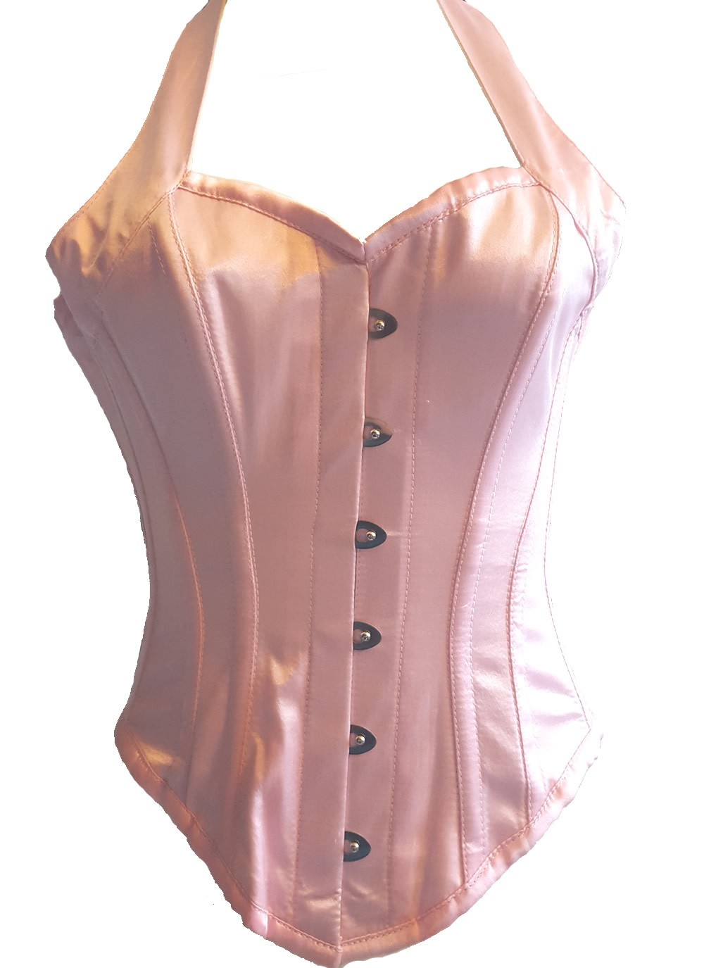 Authentic Steel Bone Halter Corset - pink