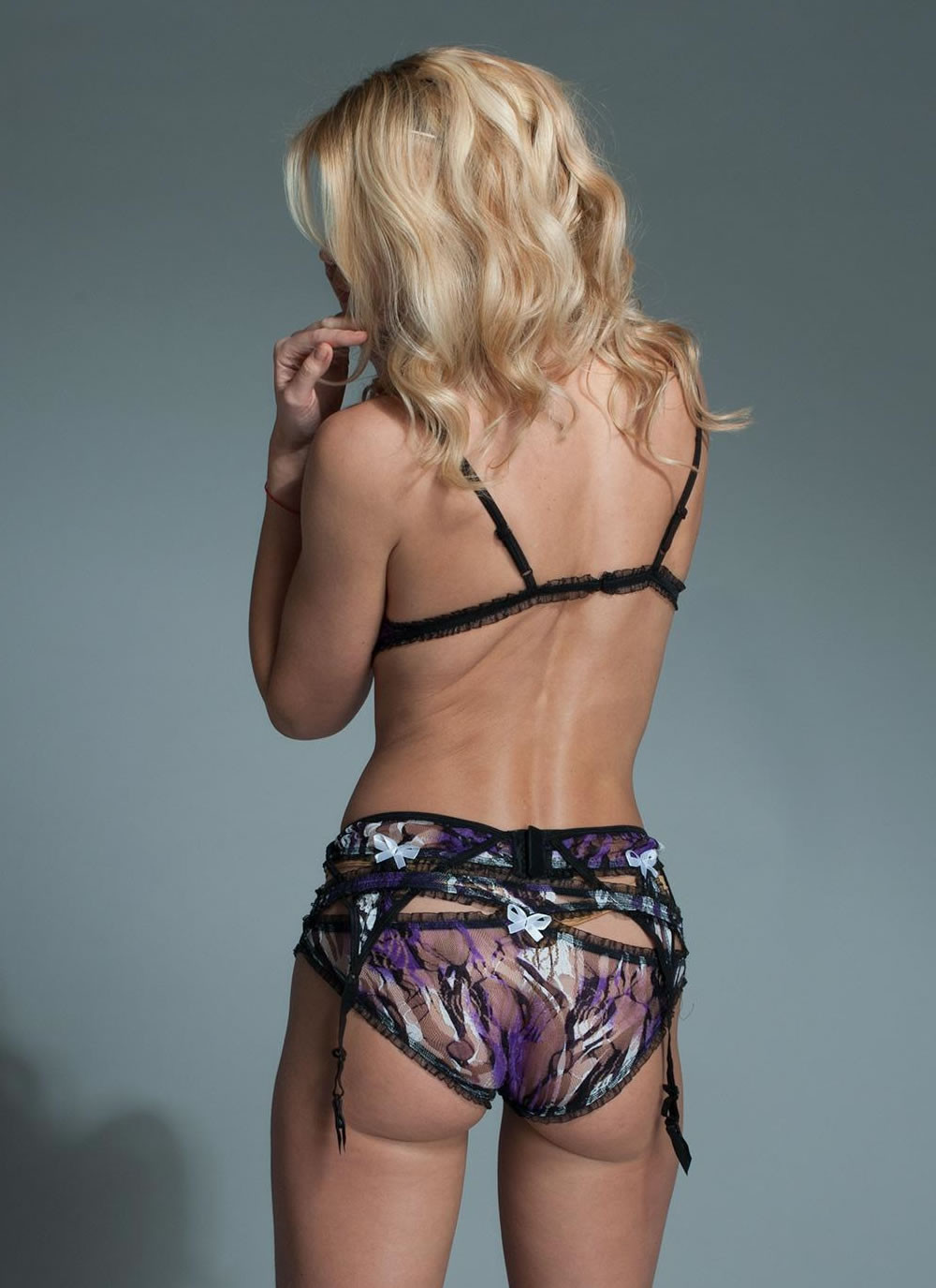 Sexy 3 Piece Purple Swirl Set - back