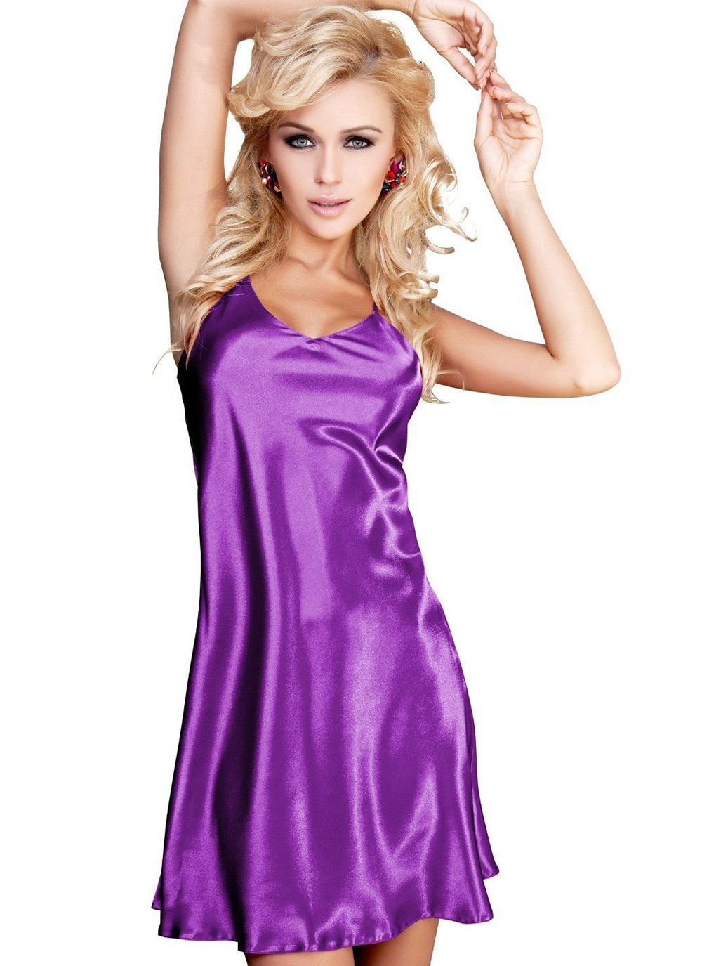 Karen Purple Satin Babydoll