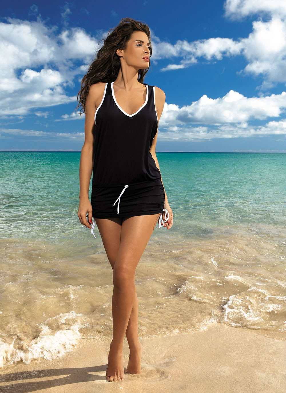 Elsa Sporty Beach Dress - Black