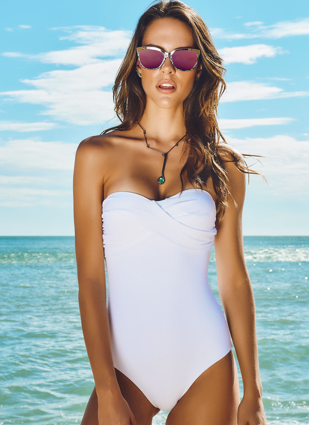 Textured One Piece Swimsuit