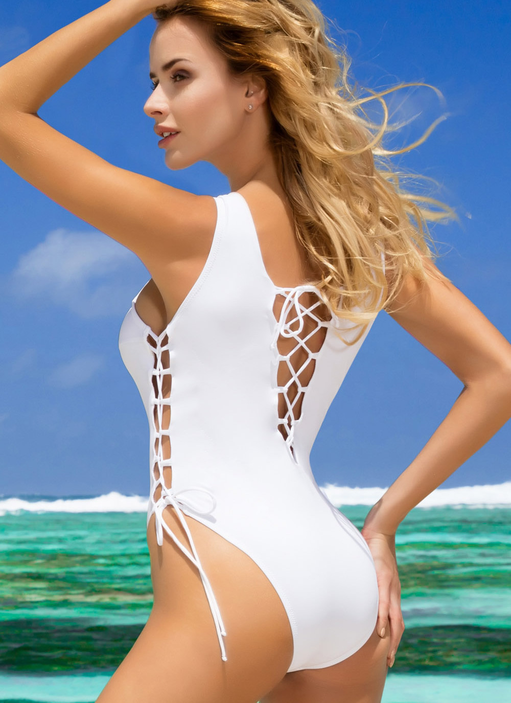 Britney Lace-Up One Piece Swimsuit