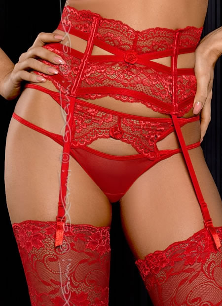 Intense Red Lace Garter Belt