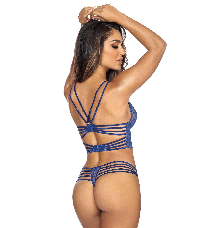 Sexy Blue Half Corset Cage Bra set